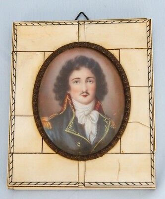 19th C Framed Hand Painted Miniature Portrait of French Napoleon Officer