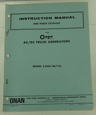 Vintage Onan Ac Dc Truck Generator Instruction Manual Parts Catalog