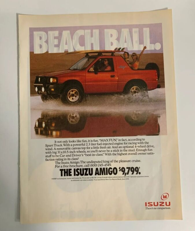 1991 Isuzu Amigo Print Ad Pick Up Sport Truck Vehicle Beach Ball Vintage