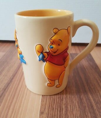 Disney Store Exclusive Winnie the Pooh Yellow Mug With 3D Blue Star Balloon.