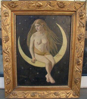 Heinrich Hofmeier (1869-1924) München Akt auf Mondsichel Mondgöttin Luna sign.