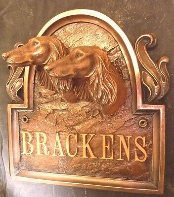 TWIN SALUKI DOG ARCHED BRONZE SIGN  PLAQUE BUST HEAD FIGURINE K9 ART STATUETTE