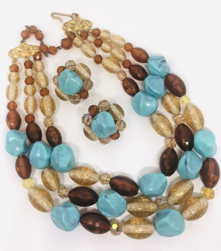 Chunky Triple Strand Faux Turquoise & Amber Necklace & ERs Demi Vintage Jewelry