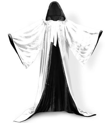 White Velvet Wizard Robe with Satin Lined Hood and Sleeves  - White Wizard Robe