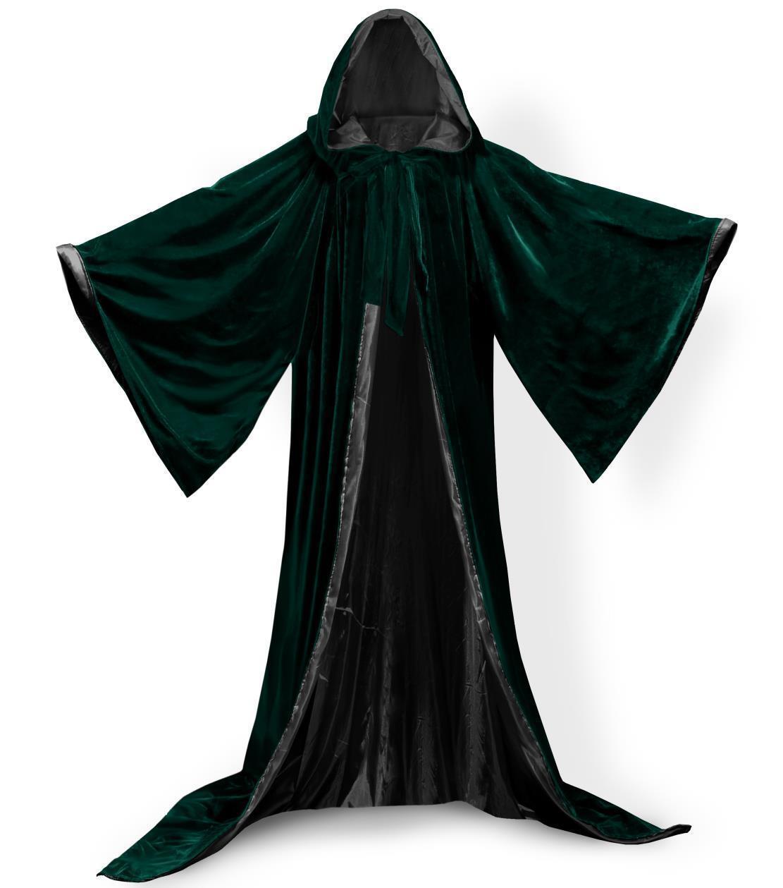 Green Velvet Hooded Cloak Gothic Vampire Wicca Robe Medieval Larp Cape Adult e45c1ab64
