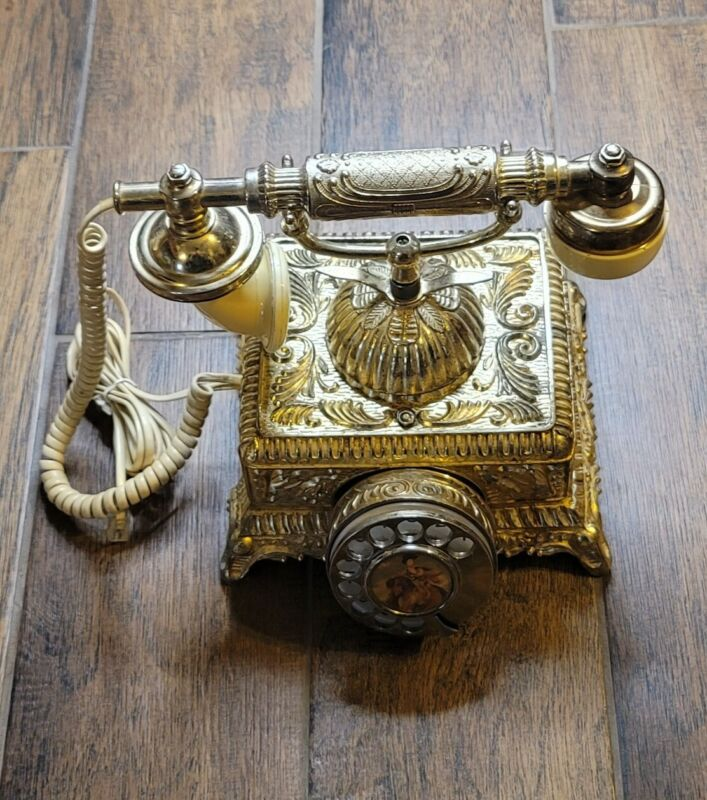 Vintage French Style Ornate Gold Brass Rotary Phone Made in Taiwan Retro
