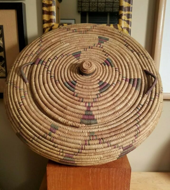 Vintage XL West African Nigerian Lidded Basket with Handles - 1960s Handmade