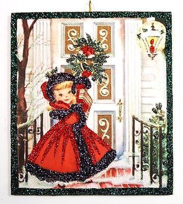 ~Girl w/Red Coat Bringing Gift ~ glittered wood Xmas Ornament repro vtg card img