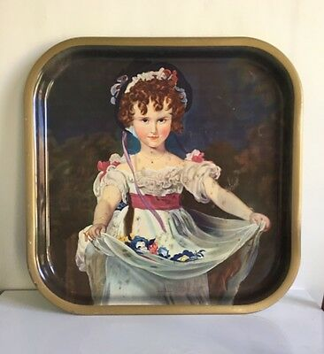 Rare Vintage Worcester Ware M&S Pub Tray - Thomas Lawrence Painting Miss Murray