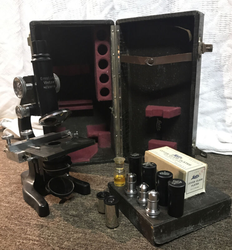 Antique Vintage Ernst Leitz Wetzlar No 335118 Microscope Lot With Case