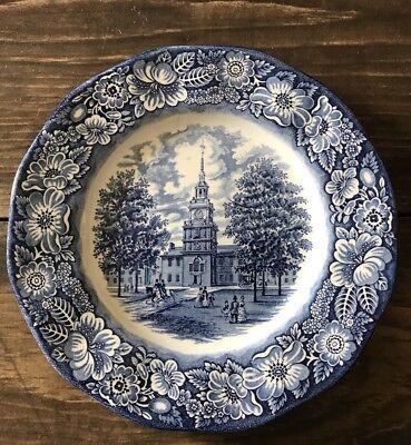"Liberty Blue Dinnerware - Vtg Liberty Blue 10"" Dinner Plate Staffordshire England Dinnerware SEVERAL AVAIL"