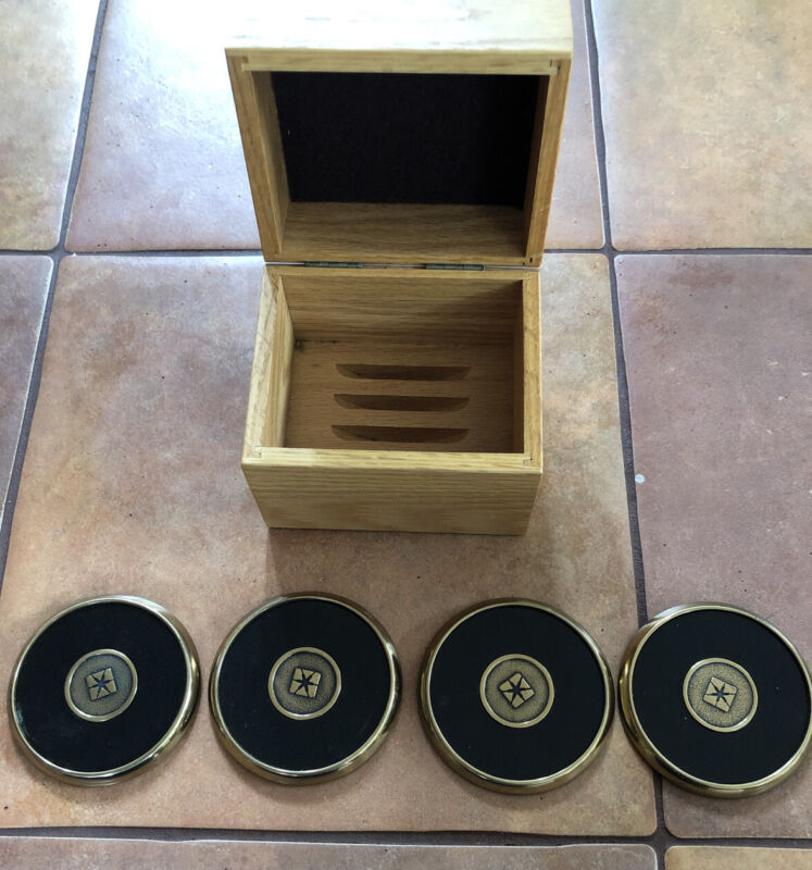 Vintage Pacific Bell Employee Gift Solid Brass Drink Coasters w/Wood Holder