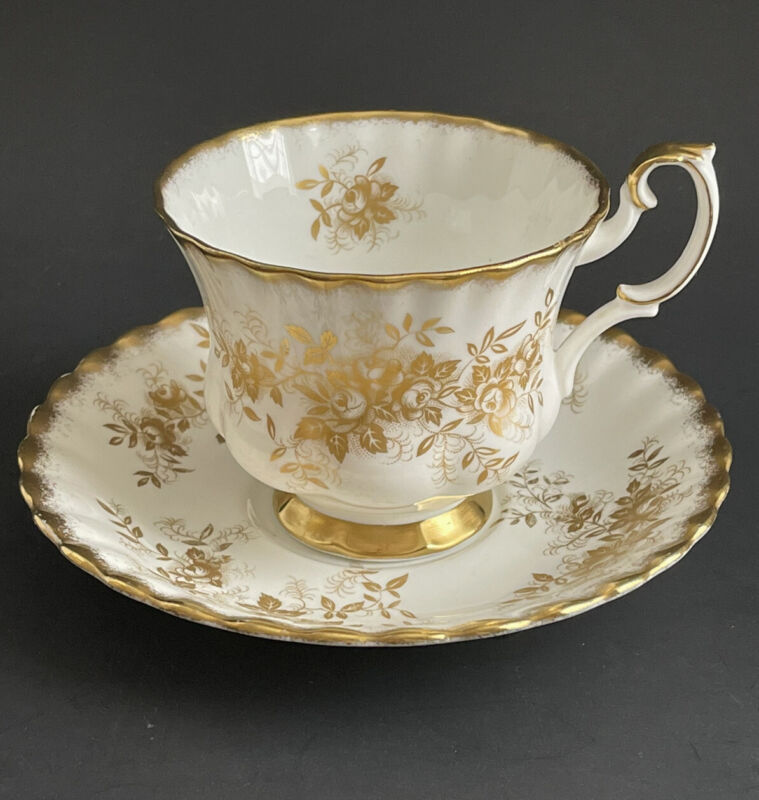 Vintage Royal Albert ANTOINETTE Tea Coffee Cup And Saucer Gold Floral England