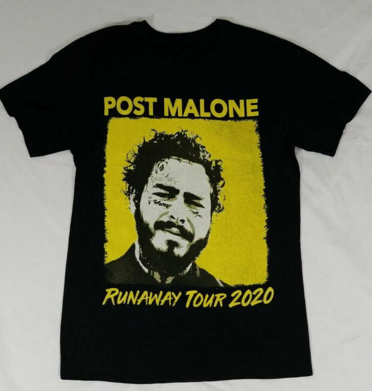 Post Malone Runaway Tour 2020 Concert T-Shirt Black Double Sided Size Adult M