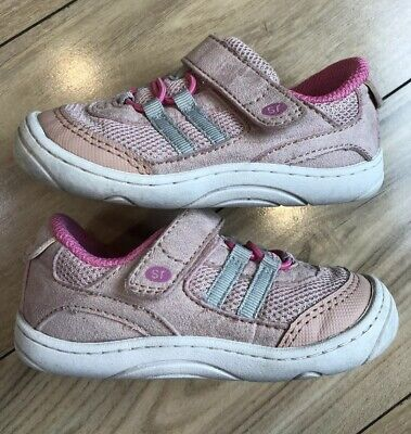 "Sz 6 Toddler STRIDE RITE ""Solana"" Girls Pink Sparkle & Silver Sneakers *Pristine"