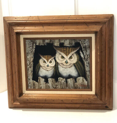 Vintage Oil On Canvas Owl Painting, Framed, Signed, 8 x 10