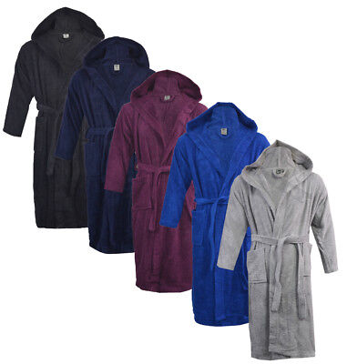 Mens Ladies 100% Cotton Hooded Towel Terry Towelling Bathrobe Robe Gown S/M L/XL](Mens Hooded Bathrobe)