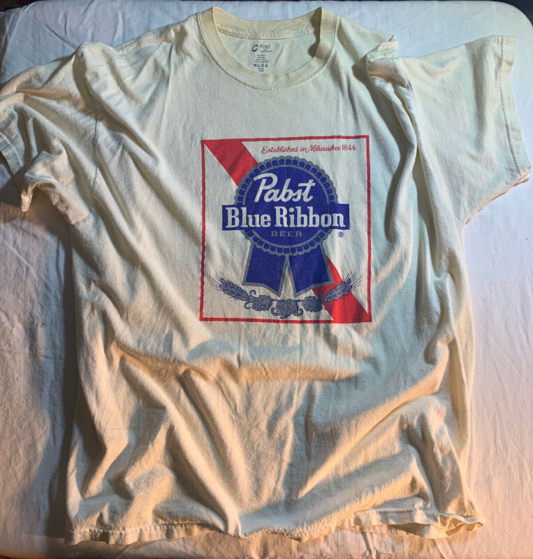 Pabst Blue Ribbon Beer T Shirt Adult Size 2XL White Short Sleeve Tee