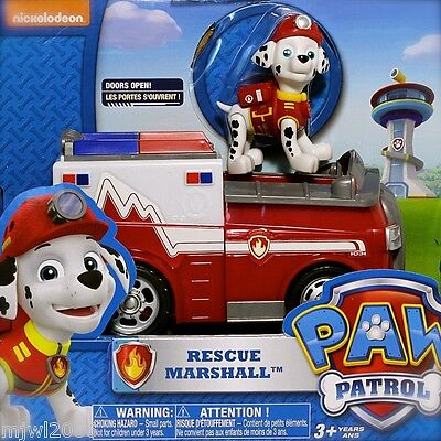 Nickelodeon PAW PATROL MARSHALL RESCUE Ambulance Vehicle Doors Open Fire Pup 3+