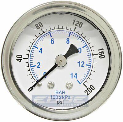 Liquid Filled Pressure Gauge 0-200 Psi 1.5 Face 18 Npt Back Mount