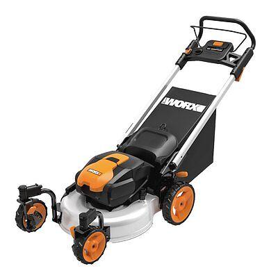 "WG771 WORX 19"" 56V Cordless Lawn Mower w/ Caster Wheels"