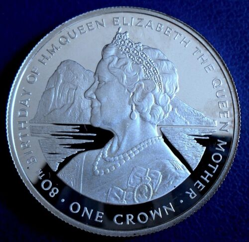 GIBRALTAR: 1980 1 Crown, Queen Mother 80 .925 Silver Proof + Clear Capsule