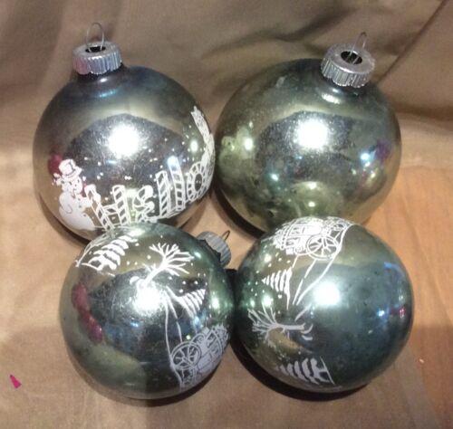 Vintage Christmas Mercury Glass green Shiny Brite Snowman Hello Stencil Ornament