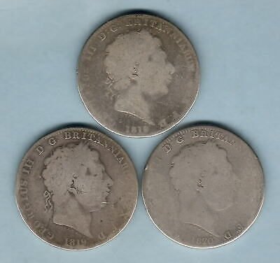Great Britain. George 111 Crowns : 1818, 1819 & 1820. G - aVG (3 Coins)
