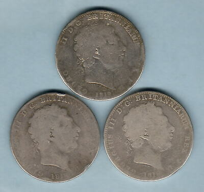 Great Britain. 1819 George 111 - Crown x 3 Coins.. Low Grades