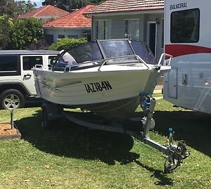 QUINTREX COAST RUNNER 455 WITH 50HP YAMAHA - BOTH 107 HOURS USE Kirrawee Sutherland Area Preview