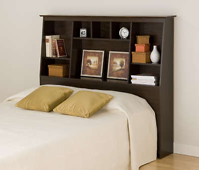 Tall Double/Full/Queen Bookcase Bed Headboard - Espresso NEW