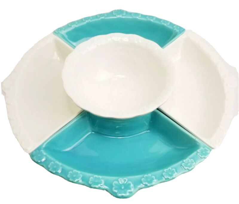 California Pottery Divided Condiment Lazy Susan White Turquoise L55 USA 1960