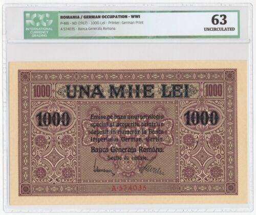 ROMANIA 1000 LEI PICK M8 GERMAN OCCUPATION WWI 1917 ICG 63 UNC