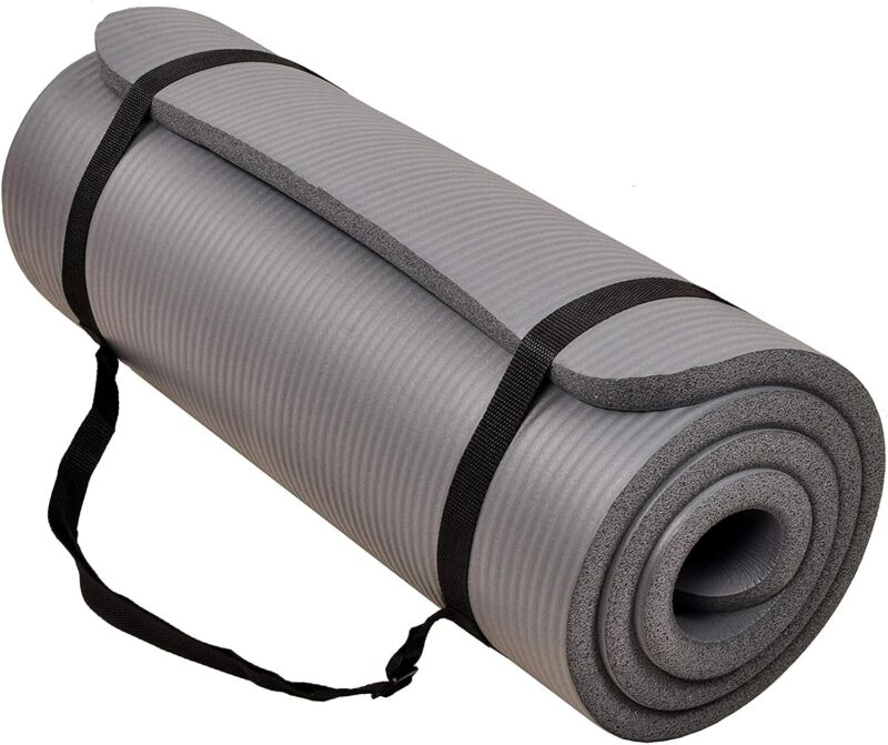 """71""""*24"""" Non-Slip Exercise Yoga Mat 1"""" Extra Thick w/ Carrying Strap Lightweight"""