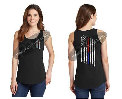 Women's Tattered American Flag Blue Red Line Police Firefighter TANK TOP Shirt