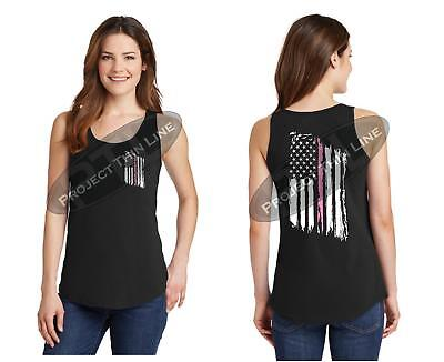 Women's Tattered American Flag PINK Line Breast Cancer Awareness TANK TOP Shirt Breast Cancer Awareness Line