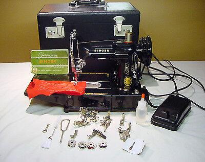 1956 Singer Featherweight 222K Freearm Sewing Machine 110V US Voltage Sew Darn