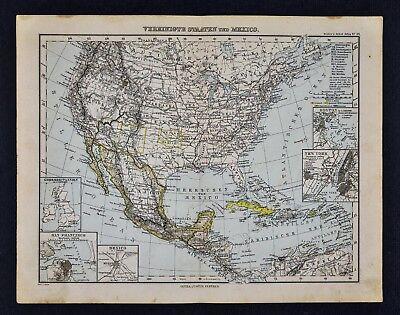 1893 Stieler Map United States New York Boston San Francisco Indian Territory OK