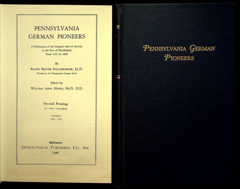 Pennsylvania German Pioneers 2 Volume Book Set Genealogy Strassburger Hinke