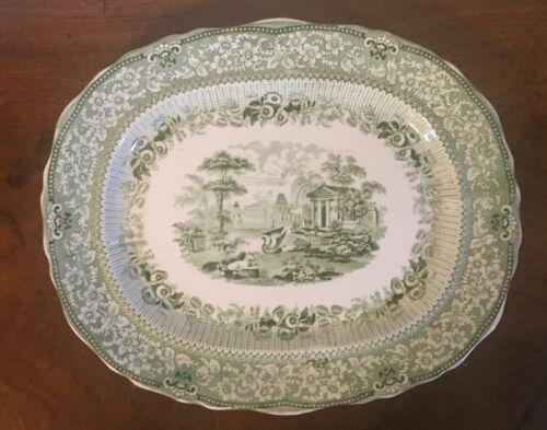 Antique Ridgway Green Transferware Serving Platter Grecian Pattern