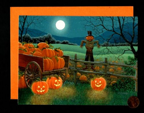 Halloween Scarecrow Pumpkin Patch Moon  Trees Wagons - Greeting Card W/ TRACKING