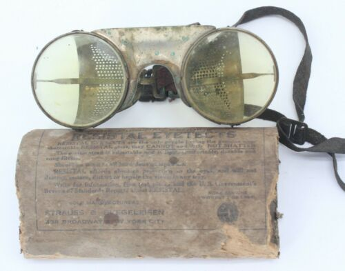 Strauss & Buegeleisen Resistal Eyetects Aviator Flying Safety Googles S&B NY WWI