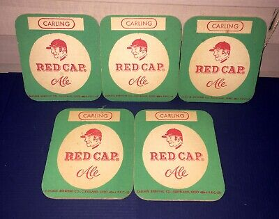Vintage CARLING RED CAP ALE Coasters Beer Collectible Breweriana Lot of (5)