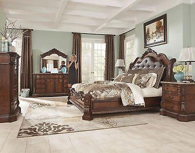 Ashley Furniture Ledelle 6 Piece Sleigh Queen Bedroom Set w/Uph Headboard  B705