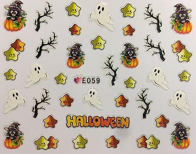 Nail Art 3D Decal Stickers Halloween Ghost Black Cat in Pumpkin Stars E059](Halloween Cat Nail Art)