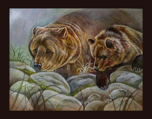 ORIGINAL LARGE  BEAR CUB WILDLIFE PAINTING ART !!!