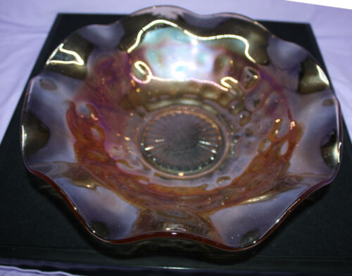 "Vintage Amber 11.5"" Large Fruit Bowl Iris Iridescent by Jeannette Ruffled Edge"