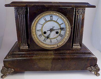 Antique 1898 Waterbury Clock Co Sarepta Shelf Usa Mantel 11X14 8 Day Wood Marble