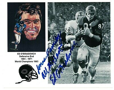 - Chicago Bears Ed O'Bradovich Signed Autographed 8x10 Photo Illinois