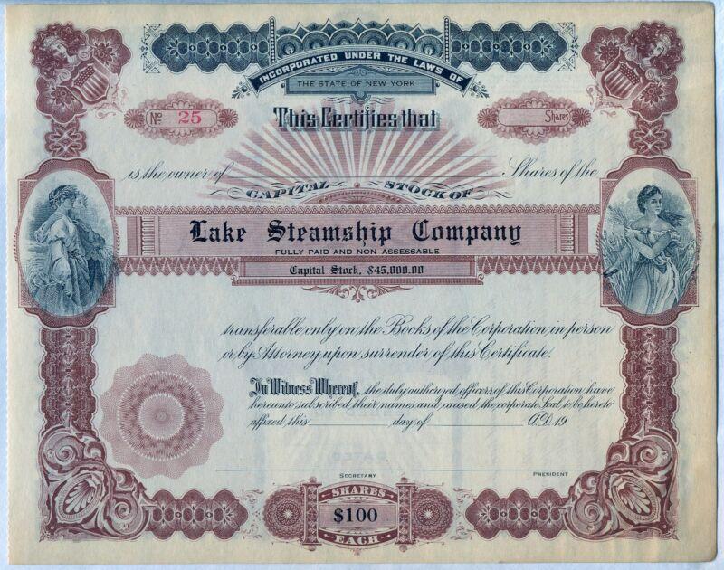 Lake Steamship Company Stock Certificate New York